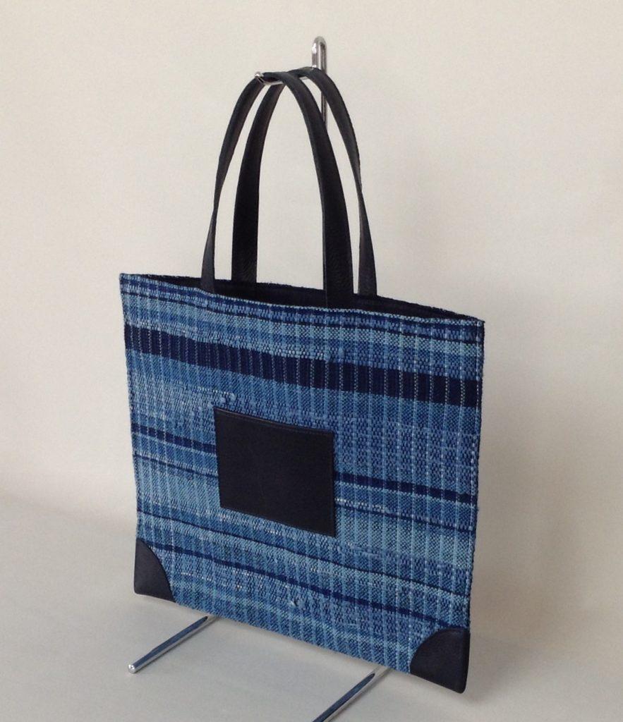 藍染裂織りバッグ